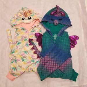 Bundle 2 M/L womens onsie pajamas cat and dragon